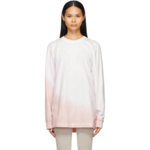 Moncler Genius 6 Moncler 1017 ALYX 9SM White and Pink Jersey Long Sleeve T-Shirt