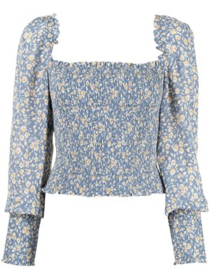 Reformation Pinto floral-print top - Blue