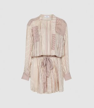 Reiss Alba - Striped Shirt Dress in Cream, Womens, Size 4
