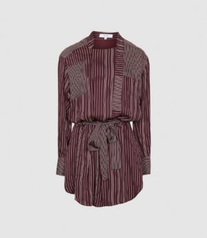 Reiss Albi - Striped Shirt Dress in Berry/Ivory, Womens, Size 4