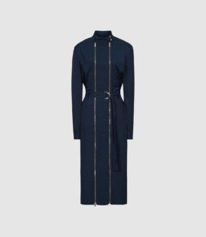 Reiss Alexis - Zip Detail Midi Dress in Navy, Womens, Size 4