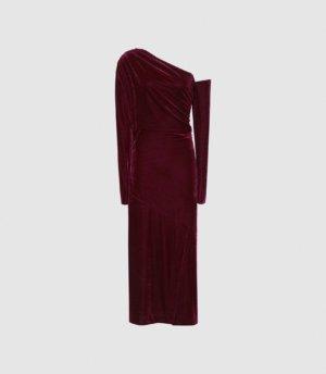 Reiss Bella - Velvet Midi Dress in Berry, Womens, Size 4