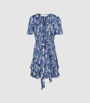 Reiss Charlie - Tassel Printed Mini Dress in Blue, Womens, Size 4