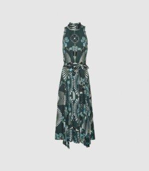 Reiss Eddie - Printed Midi Dress in Green, Womens, Size 4
