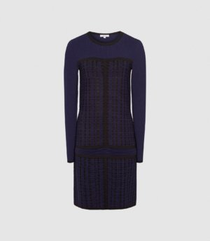 Reiss Elsie - Textured Knitted Mini Dress in Navy, Womens, Size XS