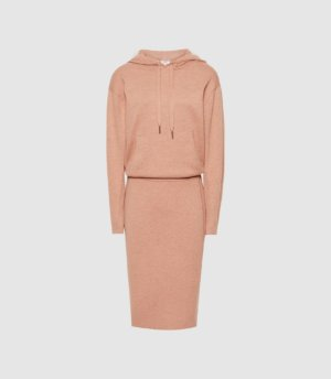 Reiss Jodie - Knitted Hoodie Dress in Camel, Womens, Size XS