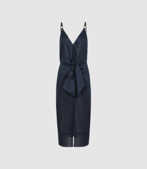 Reiss Kay - Linen Midi Dress With Tie Detail in Navy, Womens, Size 4