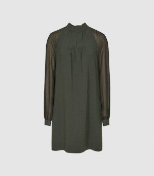 Reiss Leah - Chiffon Shift Dress in Green, Womens, Size 4