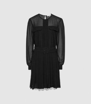 Reiss Mallie - Lace Trim Mini Dress in Black, Womens, Size 4