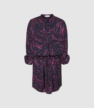 Reiss Nila - Swirl Printed Mini Dress in Navy Print, Womens, Size 4