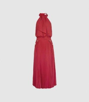 Reiss Nina - Halterneck Pleated Midi Dress in Pink, Womens, Size 4
