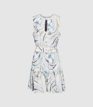 Reiss Vienna - Swirl Printed Mini Dress in Blue/Grey, Womens, Size 4