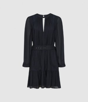 Reiss Vienna - Textured Long Sleeved Mini Dress in Navy, Womens, Size 4