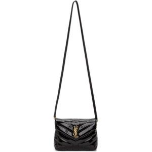 Saint Laurent Black Patent Faux-Leather Toy Loulou Bag