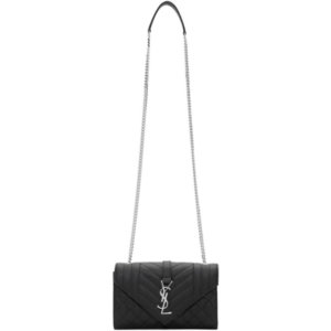 Saint Laurent Black Small Mix Matelasse Envelope Bag