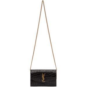 Saint Laurent Brown Croc Uptown Chain Wallet Bag