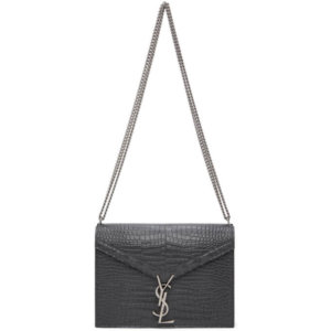 Saint Laurent Grey Croc Medium Cassandra Bag