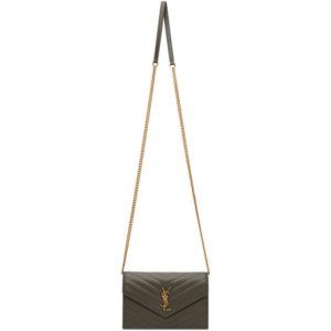 Saint Laurent Grey Monogramme Envelope Bag