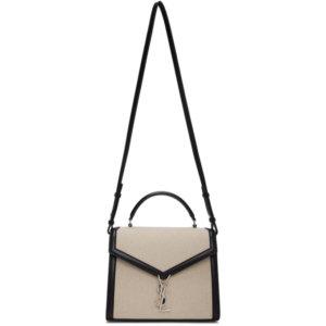 Saint Laurent Off-White and Black Medium Cassandra Bag