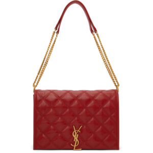 Saint Laurent Red Quilted Mini Becky Chain Bag