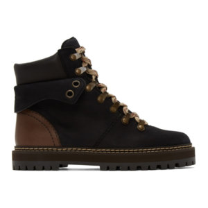 See by Chloe Black Leather Eileen Ankle Boots