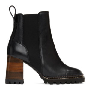 See by Chloe Black and Brown Mallory Heeled Boots