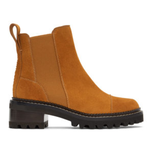 See by Chloe Tan Suede Mallory Ankle Boots