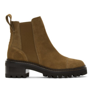 See by Chloe Taupe Suede Mallory Ankle Boots