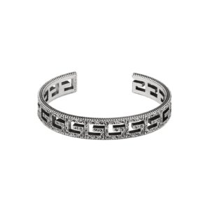 Silver Cuff Bracelet With Square G Motif
