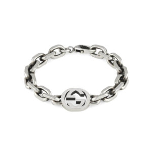 Silver Interlocking G Large Bracelet