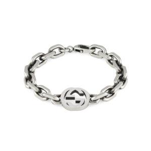 Silver Interlocking G Large Bracelet