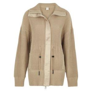 Varley Greenfield Light Brown Ribbed-knit Jacket
