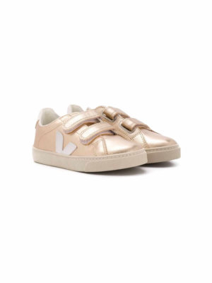 Veja Kids laminated touch strap sneakers - Gold
