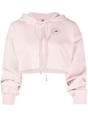 adidas by Stella McCartney logo-print cropped hoodie - Pink
