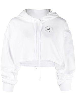 adidas by Stella McCartney logo-print cropped hoodie - White
