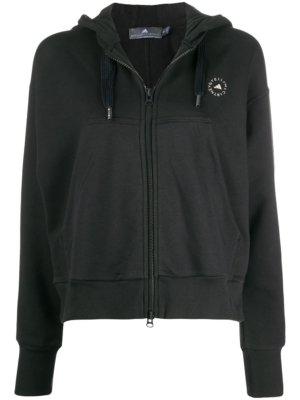 adidas by Stella McCartney logo print hoodie - Black