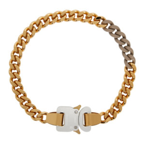 1017 ALYX 9SM SSENSE Exclusive Gold and Beige Colored Links Buckle Necklace