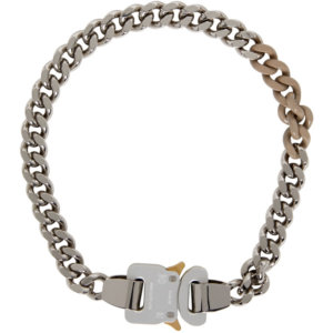 1017 ALYX 9SM SSENSE Exclusive Silver and Beige Buckle Colored Links Necklace