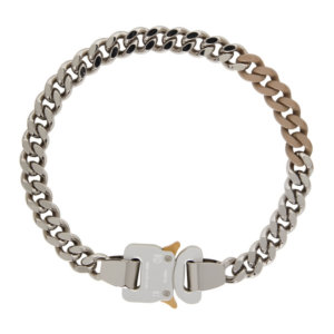 1017 ALYX 9SM SSENSE Exclusive Silver and Beige Colored Links Buckle Necklace