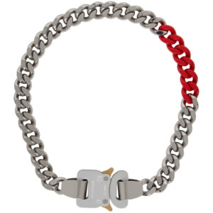 1017 ALYX 9SM Silver and Red Colored Links Buckle Necklace