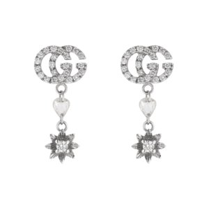 18ct White Gold Flower and Double G Diamond Drop Earrings