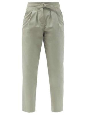 A.P.C. - Sarah Belted Cotton-blend Gabardine Trousers - Womens - Green