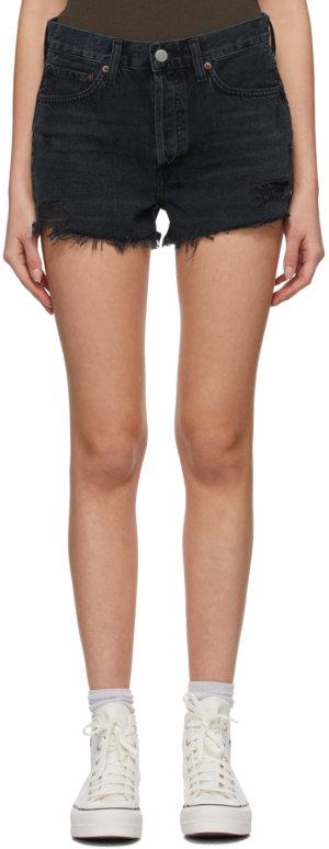 AGOLDE Black Denim Parker Vintage Cut-Off Shorts