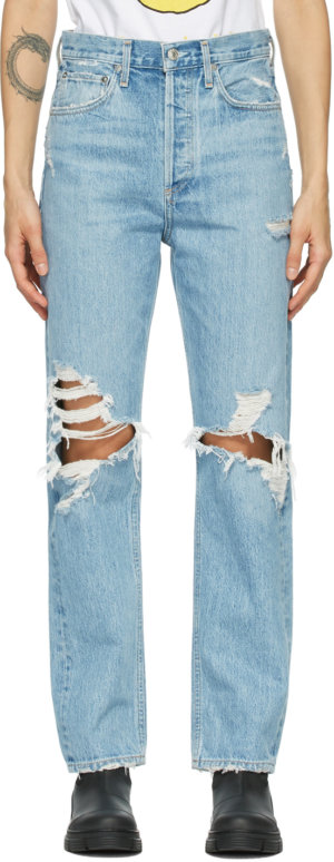 AGOLDE Blue 90s Mid-Rise Loose-Fit Jeans