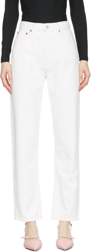 AGOLDE White 90s Pinch Waist High-Rise Straight Jeans