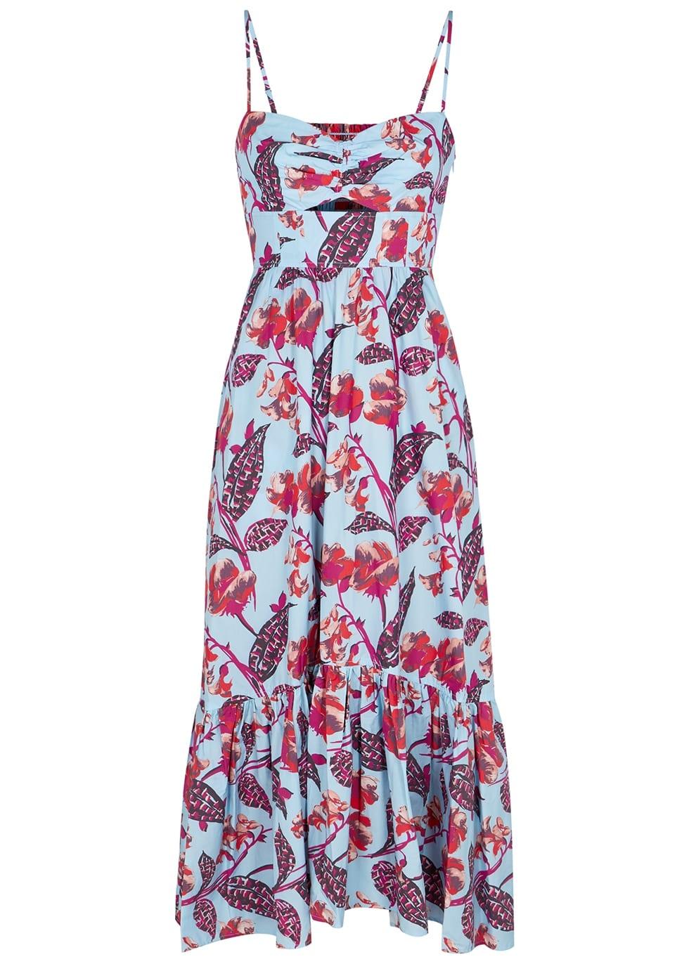 pink blue floral print maxi dress