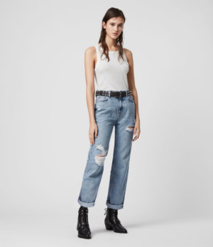 AllSaints Womens Ash Cropped High-Rise Distressed Boyfriend Jeans, Mid Indigo, Blue, Size: 24