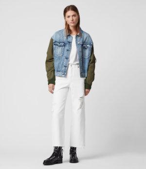 AllSaints Womens Ash Cropped High-Rise Distressed Boyfriend Jeans, White, Size: 31