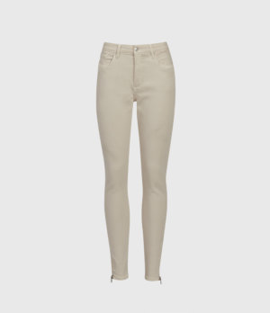 AllSaints Women's Cotton Miller Mid-Rise Superstretch Skinny Jeans, Cream, Size: 28