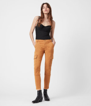 AllSaints Womens Duran Mid-Rise Skinny Cargo Jeans, Caramel, Size: 24